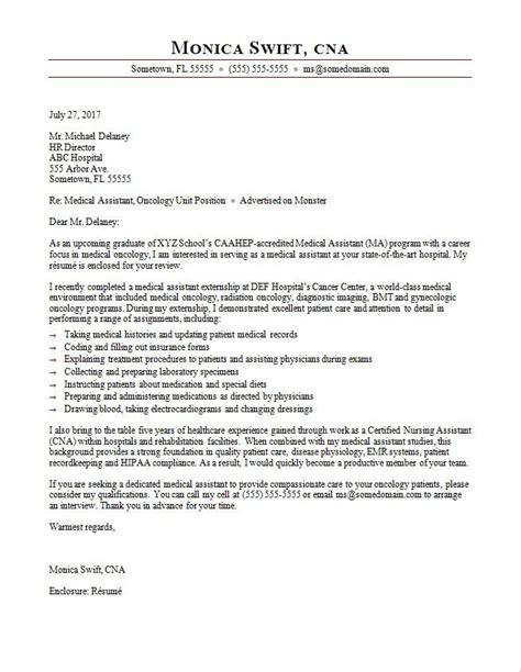 medical assistant cover letter sample monstercom