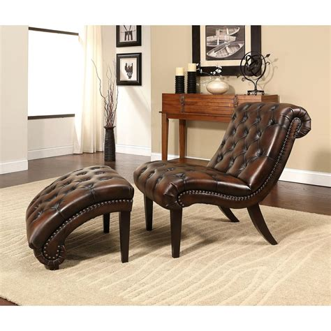 leather lounge chair with ottoman abbyson encore brown tufted leather chaise lounge with