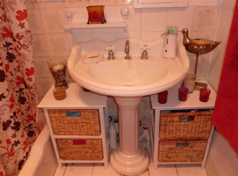 Bathroom Storage Around Pedestal Sink With Elegant Images