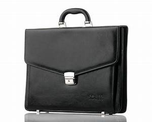 Black leather men's briefcase Solier Business | Men's bags ...