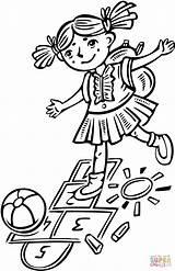 Hopscotch Kleurplaat Brincando Marelle Amarelinha Jouant Kolorowanki Klasy Ragazza Gioca Dziewczynka Kolorowanka Hinkelen sketch template