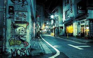 Purple Lights In Chicago Japan Tokyo Street Night Desktop Wallpaper