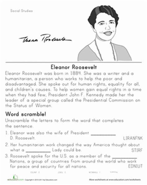 historical heroes eleanor roosevelt worksheet