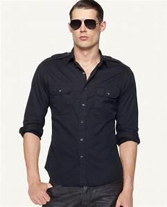 Ralph lauren Black Label Victoria Military Shirt in Blue ...