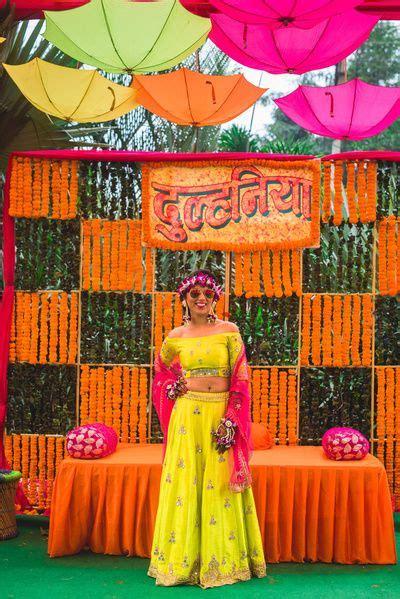 colorful  fun mehendi decor indian wedding