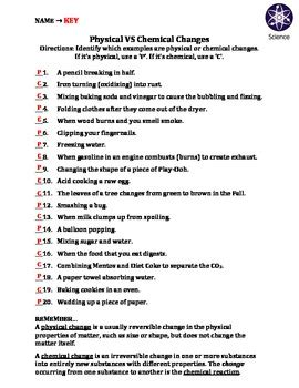 worksheet physical  chemical   travis terry tpt