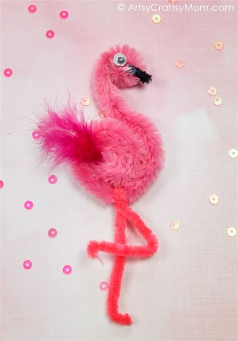 pipe cleaner flamingo craft  kids