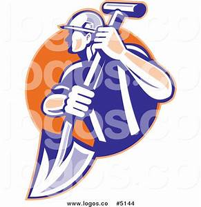 Royalty Free Vector of a Construction Worker and Shovel