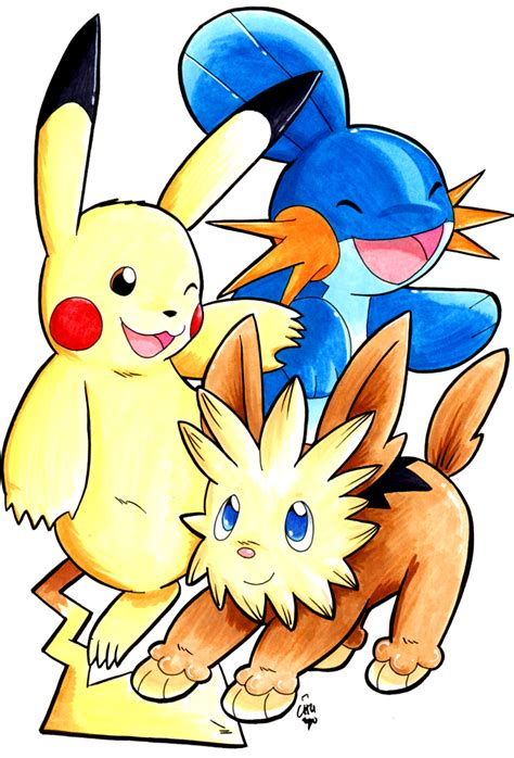 pikachu mudkip and lillipup by raizy on deviantart