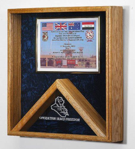 military flag  certificate display case shadow box