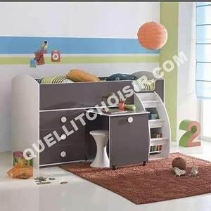 Lit 3 Suisses : lit lit combin pour enfant avec bureau com tag re bla taupe 3 suisses ~ Teatrodelosmanantiales.com Idées de Décoration