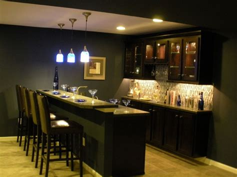 Basement Bar Cabinets by Basement Bar Back Wall Cabinet Layout And Lights This