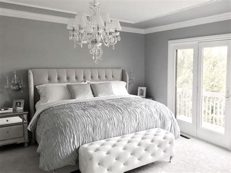 Gray Bedroom by Glamorous Grey Bedroom Decor Grey Tufted Headboard