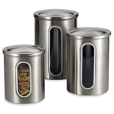 stainless steel kitchen canisters polder brushed stainless steel window canisters set of 3