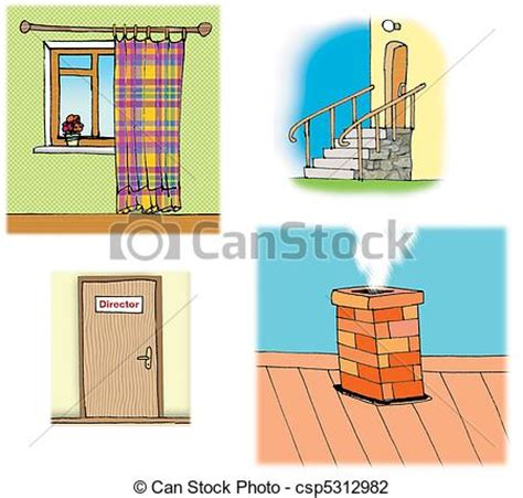 illustrations about different house parts on white background