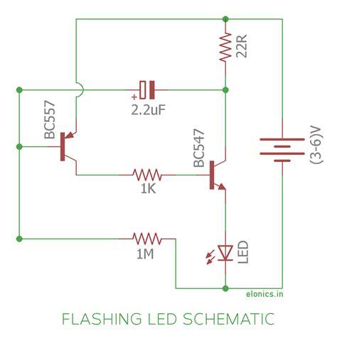 Simple Flashing Led Circuit Using Transistors Elonics