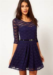 Dark Blue Belt Collarless Seven's Sleeve Lace Dress Midi Dresses Dresses