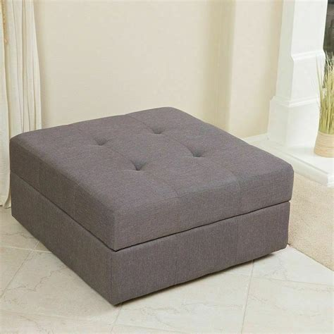 Tufted Fabric Coffee Table by Spacious Gray Fabric Storage Ottoman Coffee Table