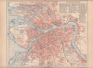 1890 RUSSIA ST. PETERSBURG City Plan Antique Map | eBay
