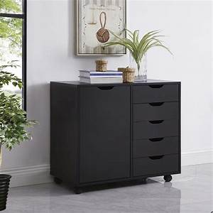 Amy, 5-drawer, Office, Storage, Cabinet, With, Shelves, By, Naomi, Home-color, Black