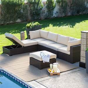 Lounge Sofa Outdoor : belham living marcella all weather outdoor wicker 6 piece sectional set conversation patio ~ Frokenaadalensverden.com Haus und Dekorationen