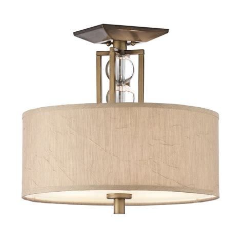 semi flush fitting ceiling light taupe drum shade and
