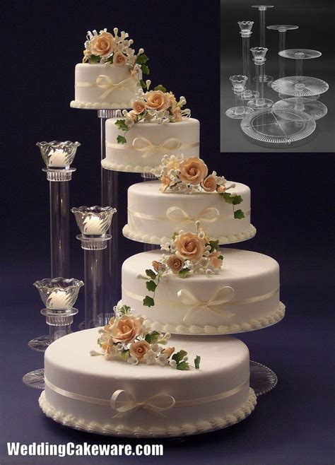 tier cascading wedding cake stand stands  tier candle