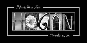 wedding sign last name photo art black and by konabdesigns With last name picture letter art