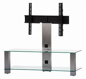 Meuble Avec Support Tv : meuble tv sonorous pl2400 c inx verre claire et inox avec ~ Dailycaller-alerts.com Idées de Décoration
