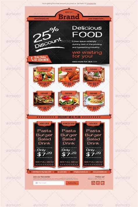 restaurant food email newsletter template  hsynkyc