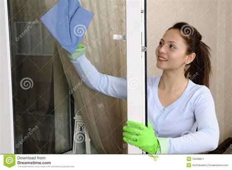Beautiful Women Cleaning A Window Stock Image Image