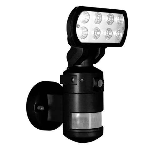 security light and camera nightwatcher security 220 degree outdoor black motorized