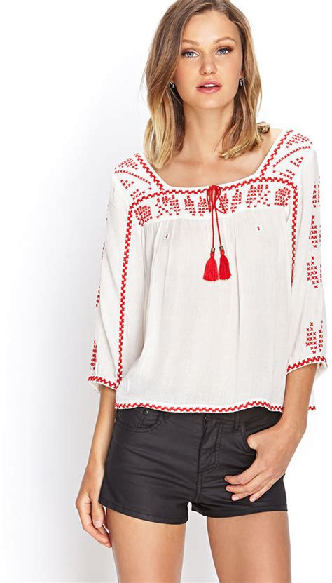 embroidered peasant top   buy