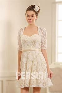 Robe Mariage Dentelle : robe courte habill e pour mariage avec manches dentelle ~ Mglfilm.com Idées de Décoration