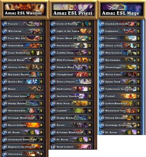 top tier decks hearthstone standard esl hearthstone katowice 2015 orange vs amaz decklists
