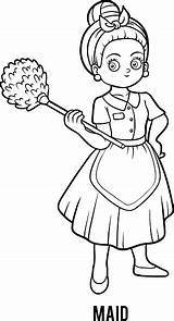 Coloring Maid Illustration Vector sketch template