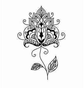 Ornate persian paisley floral element vector. Lotus flower ...