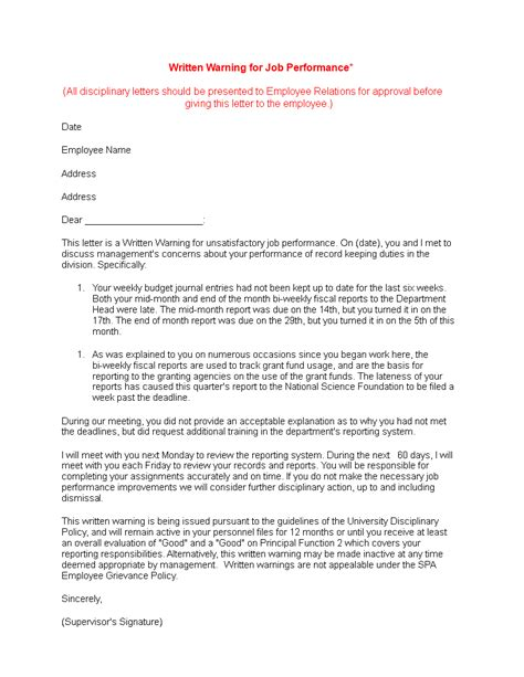 Final Written Warning Letter for Poor Job Performance