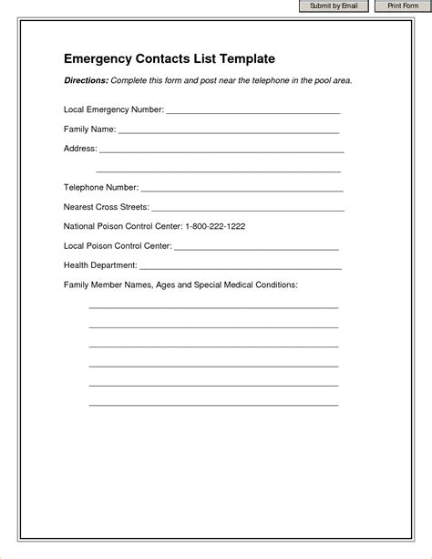 emergency contact template outline templates