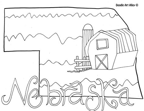 nebraska coloring page  doodle art alley usa coloring