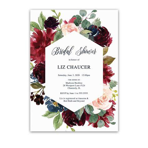 geometric bridal shower invitation floral burgundy blush navy