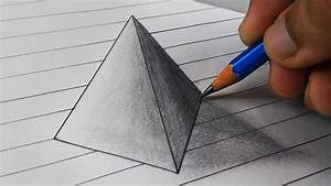 How to draw 3D TRIANGLE illusion drawing on the PAPER step ...