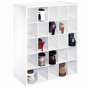 High White Wooden Shoe Storage With Five Shelves With And