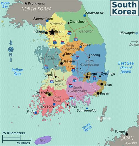 maps  south korea detailed map  south korea