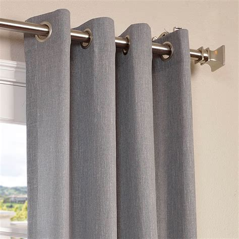 grey faux linen grommet semi sheer curtain