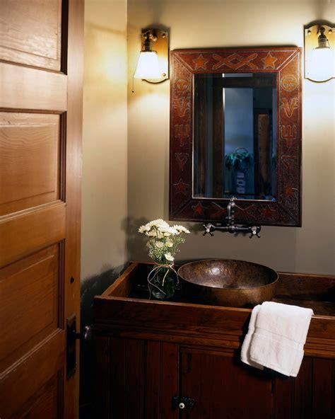Half Bathroom Ideas Brown by Copper Vessel Sinks Powder Room Rustic With Antique Copper
