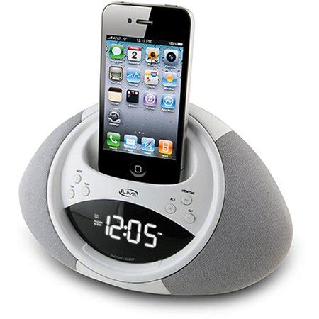iphone clock radio ilive icp122w clock radio for ipod and iphone white