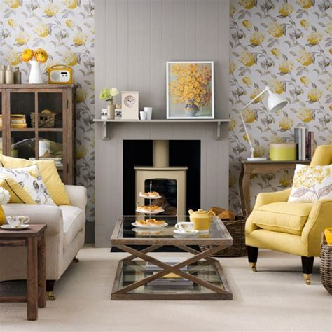 Grey living room with yellow accents   Living room