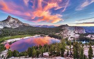 Nature, Landscape, Lake, Trees, Sunset, Clouds, Reflection, Mountain, Pine, Trees, Wallpapers, Hd