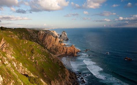 nature landscape ireland sea rock cliff clouds